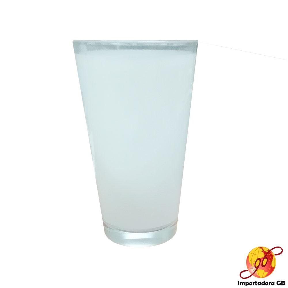 Vaso cónico de cristal con Parche Blanco 16 onz