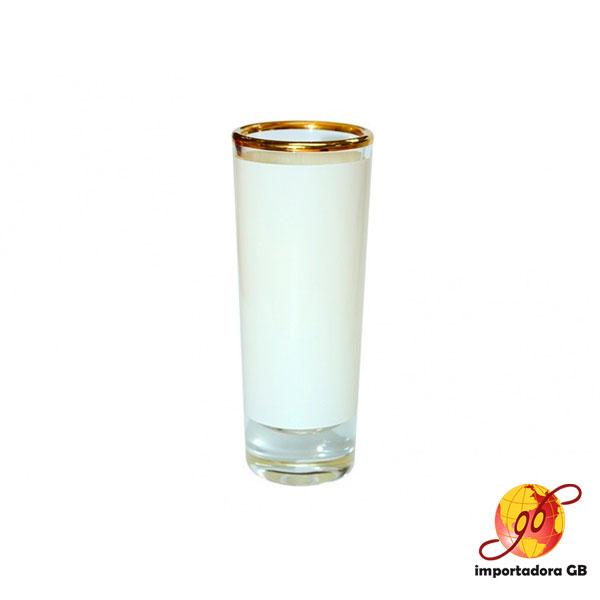 Shots de Cristal para Sublimar Filo Dorado Parche Blanco